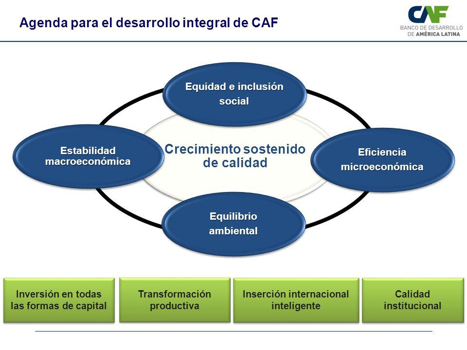 Crecimiento sostenido de calidad Equidad e inclusión social Eficienciamicroeconómica Equilibrioambiental Estabilidad macroeconómica Inversión en todas
