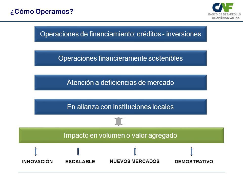 Atención a deficiencias de mercado Operaciones de financiamiento: créditos - inversiones Operaciones financieramente sostenibles En alianza con instit