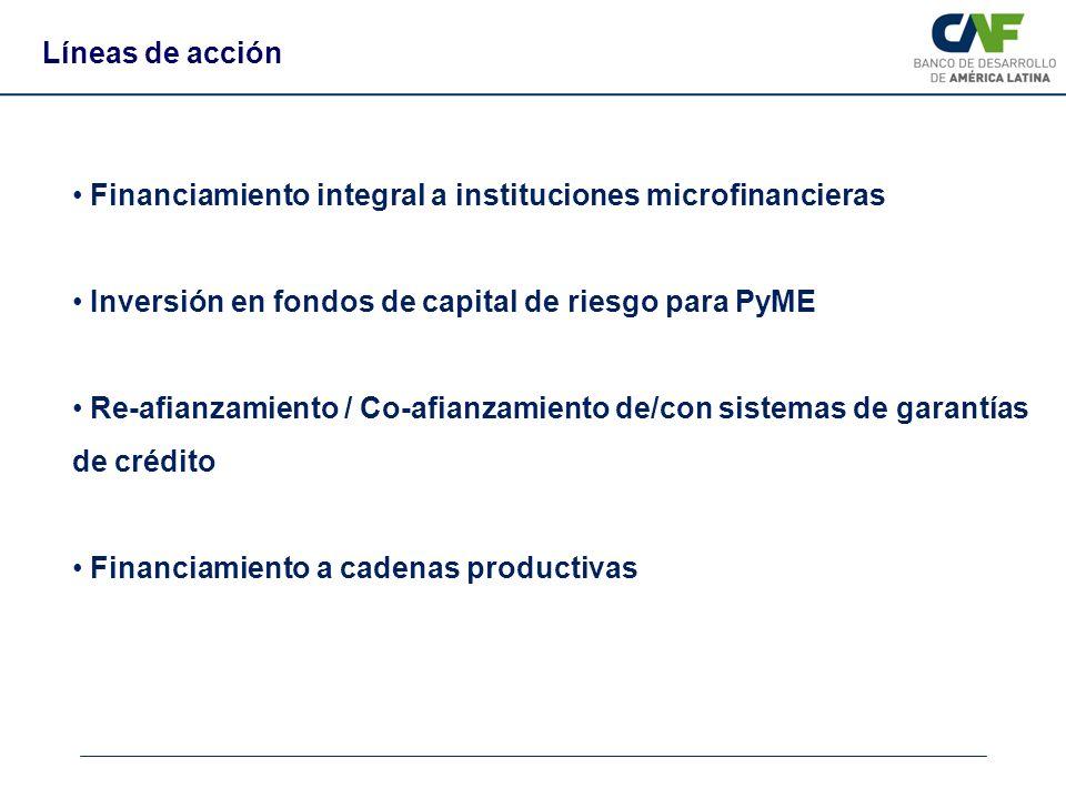 Financiamiento integral a instituciones microfinancieras Inversión en fondos de capital de riesgo para PyME Re-afianzamiento / Co-afianzamiento de/con