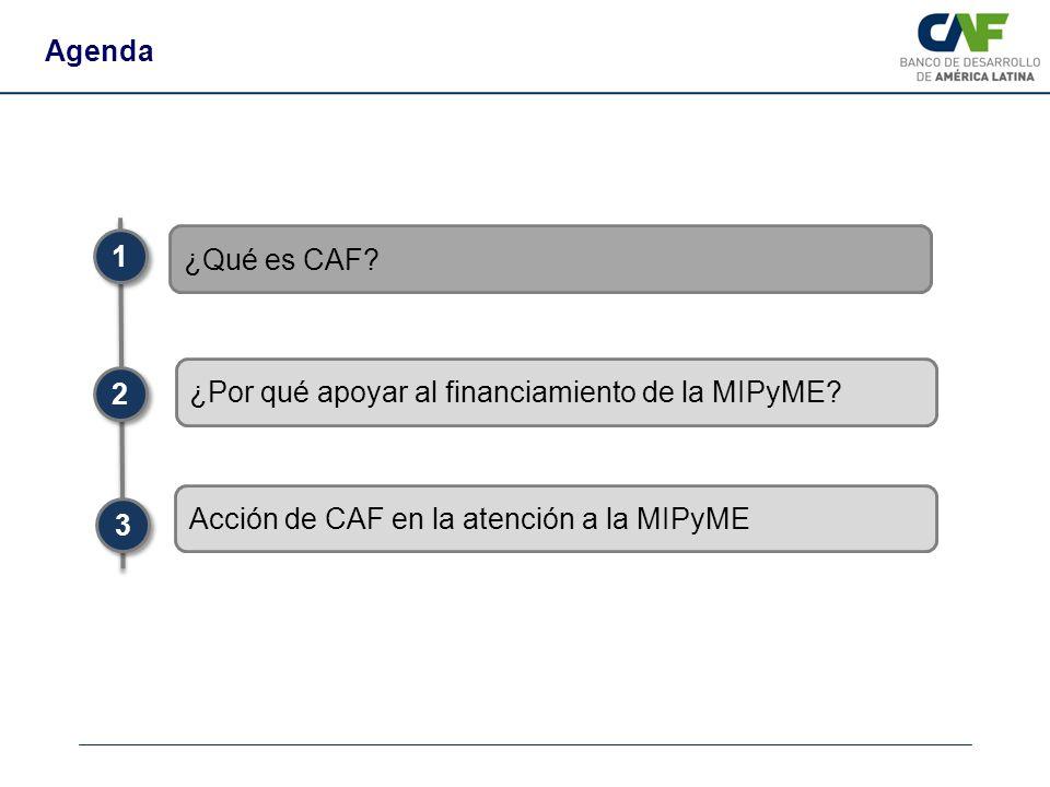 Agenda ¿Qué es CAF? 1 1 2 2 3 3 Acción de CAF en la atención a la MIPyME ¿Por qué apoyar al financiamiento de la MIPyME?