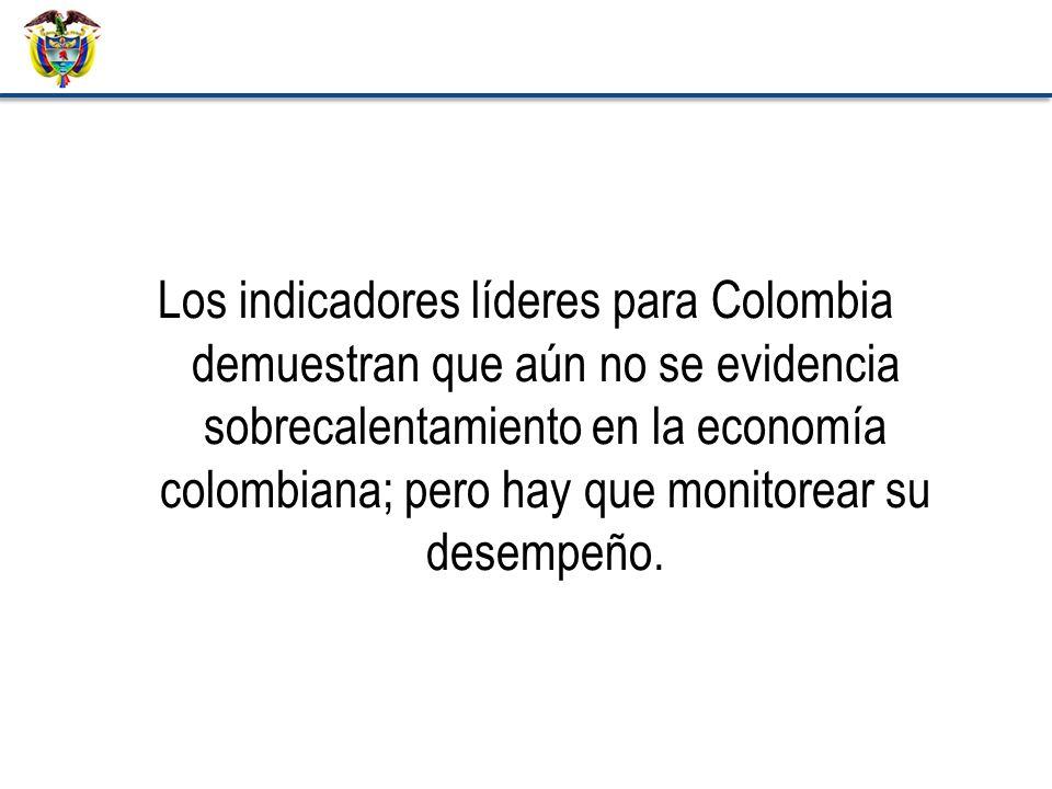Los indicadores líderes para Colombia demuestran que aún no se evidencia sobrecalentamiento en la economía colombiana; pero hay que monitorear su desempeño.