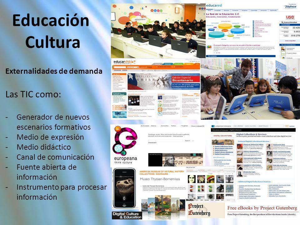 Educación Cultura Externalidades de demanda Las TIC como: -Generador de nuevos escenarios formativos -Medio de expresión -Medio didáctico -Canal de co