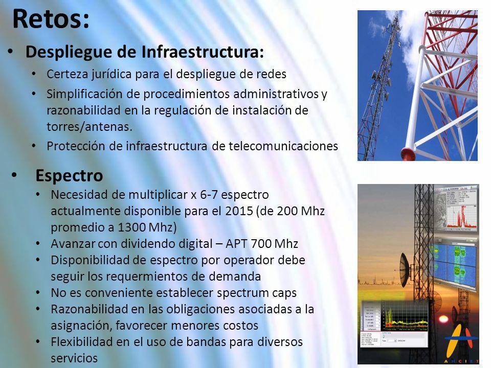 Despliegue de Infraestructura: Certeza jurídica para el despliegue de redes Simplificación de procedimientos administrativos y razonabilidad en la reg