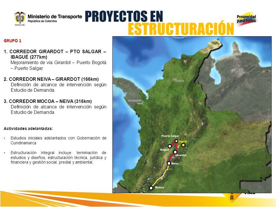 GRUPO 1 1. CORREDOR GIRARDOT – PTO SALGAR – IBAGUÉ (277km) Mejoramiento de vía Girardot – Puerto Bogotá – Puerto Salgar 2. CORREDOR NEIVA – GIRARDOT (
