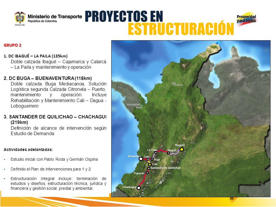 Bogotá B/ventura GRUPO 2 1. DC IBAGUÉ – LA PAILA (135km) Doble calzada Ibagué – Cajamarca y Calarcá – La Paila y mantenimiento y operación 2. DC BUGA