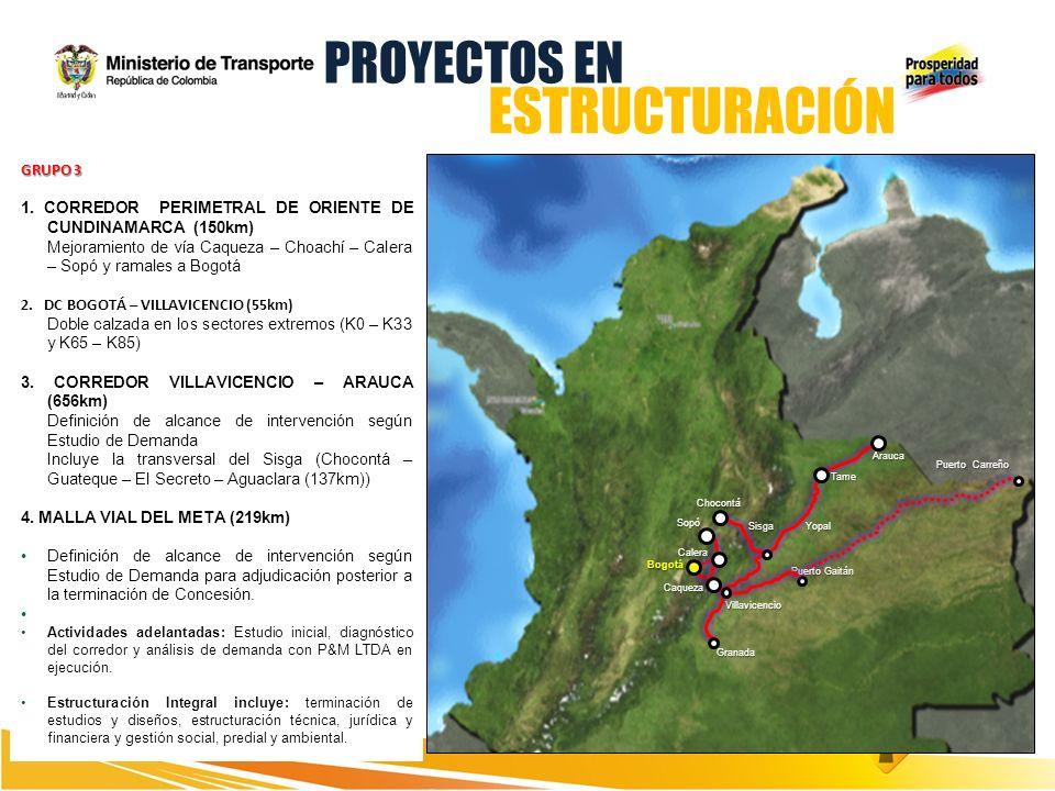 GRUPO 3 1. CORREDOR PERIMETRAL DE ORIENTE DE CUNDINAMARCA (150km) Mejoramiento de vía Caqueza – Choachí – Calera – Sopó y ramales a Bogotá 2. DC BOGOT