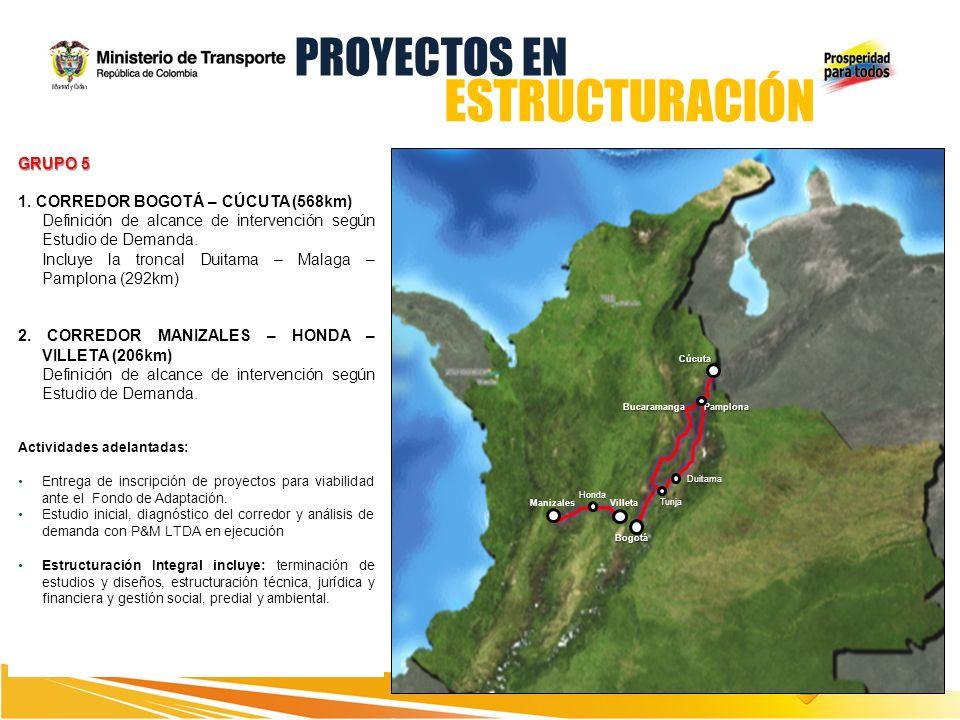 Bogotá Cúcuta PamplonaBucaramanga Duitama Tunja GRUPO 5 1. CORREDOR BOGOTÁ – CÚCUTA (568km) Definición de alcance de intervención según Estudio de Dem