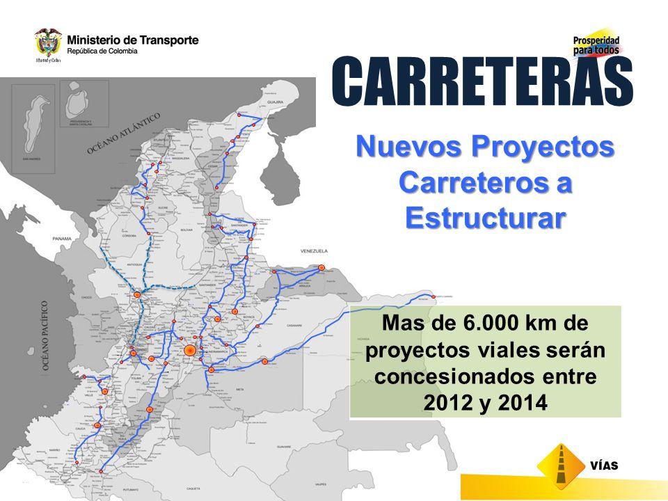 CARRETERAS + Mas de 10.000 km de proyectos viales de la red nacional quedarían en concesión Proyectos Carreteros Vigentes en Concesión Nuevos Proyectos Carreteros a Estructurar