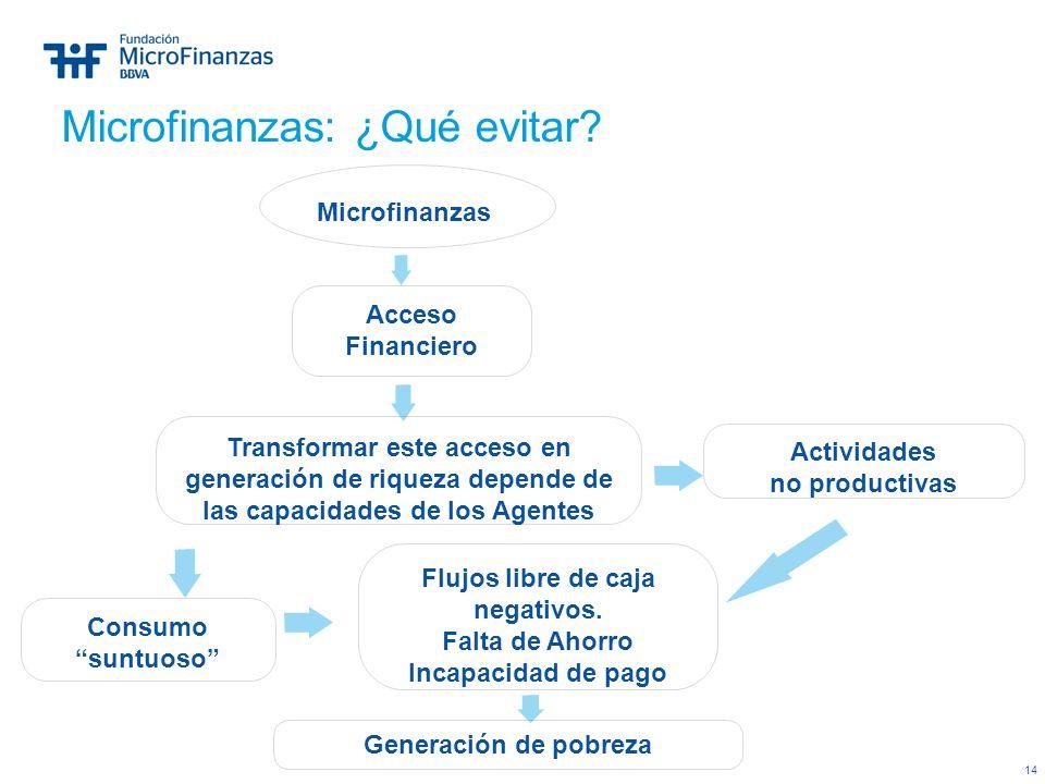 14 Transformar este acceso en generación de riqueza depende de las capacidades de los Agentes Microfinanzas Acceso Financiero Generación de pobreza Fl