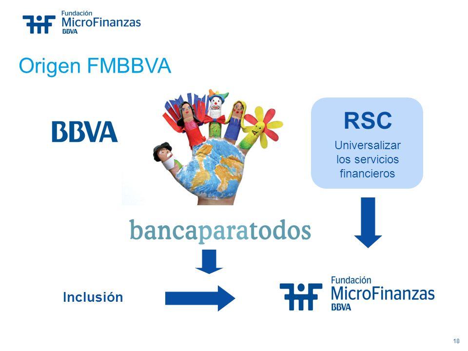 18 Inclusión Origen FMBBVA RSC Universalizar los servicios financieros