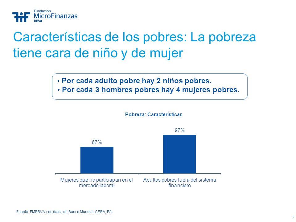7 Características de los pobres: La pobreza tiene cara de niño y de mujer Pobreza: Características Fuente: FMBBVA con datos de Banco Mundial, CEPA, FA