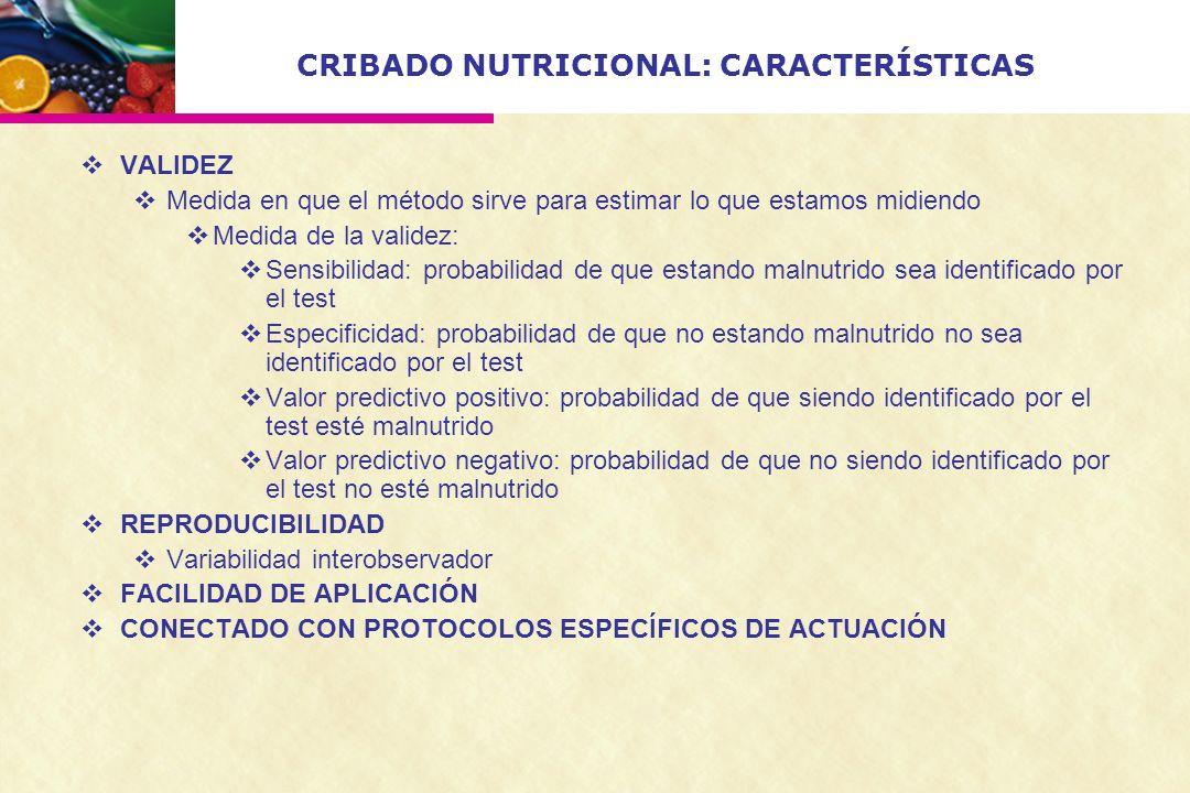 CRIBADO NUTRICIONAL: CARACTERÍSTICAS VALIDEZ Medida en que el método sirve para estimar lo que estamos midiendo Medida de la validez: Sensibilidad: pr