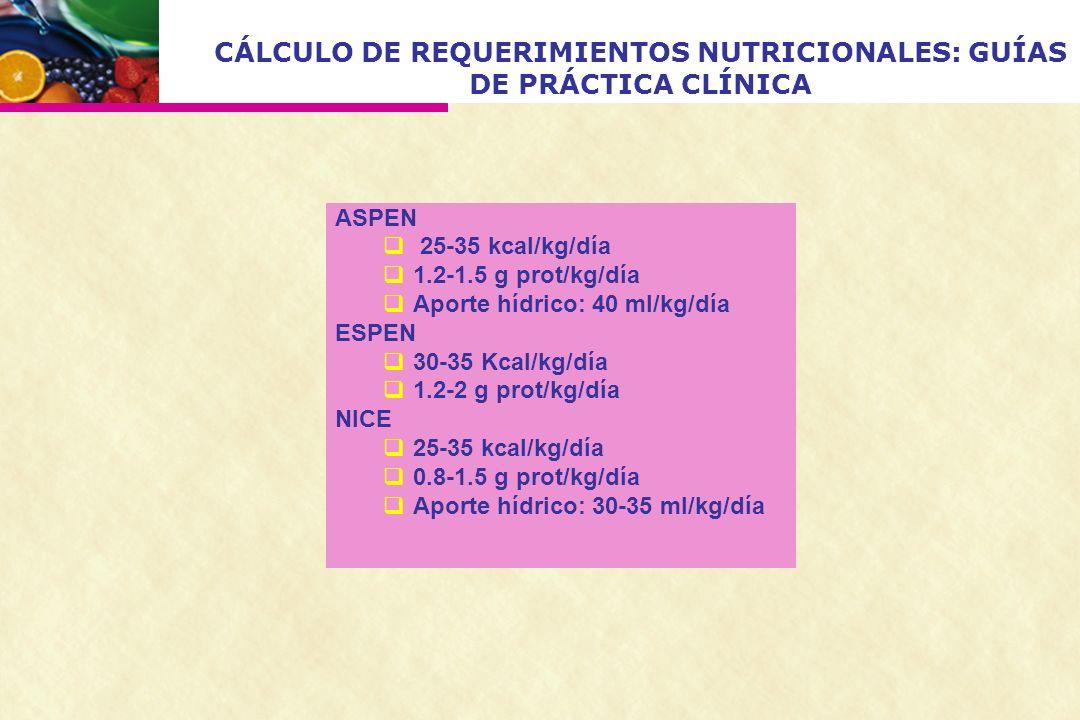 CÁLCULO DE REQUERIMIENTOS NUTRICIONALES: GUÍAS DE PRÁCTICA CLÍNICA ASPEN 25-35 kcal/kg/día 1.2-1.5 g prot/kg/día Aporte hídrico: 40 ml/kg/día ESPEN 30