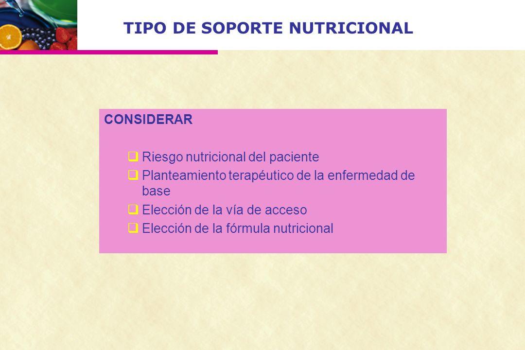 TIPO DE SOPORTE NUTRICIONAL CONSIDERAR Riesgo nutricional del paciente Planteamiento terapéutico de la enfermedad de base Elección de la vía de acceso