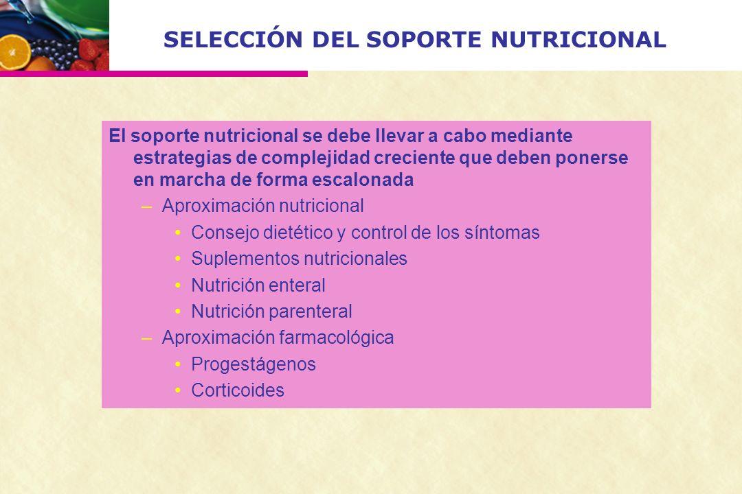 SELECCIÓN DEL SOPORTE NUTRICIONAL El soporte nutricional se debe llevar a cabo mediante estrategias de complejidad creciente que deben ponerse en marc