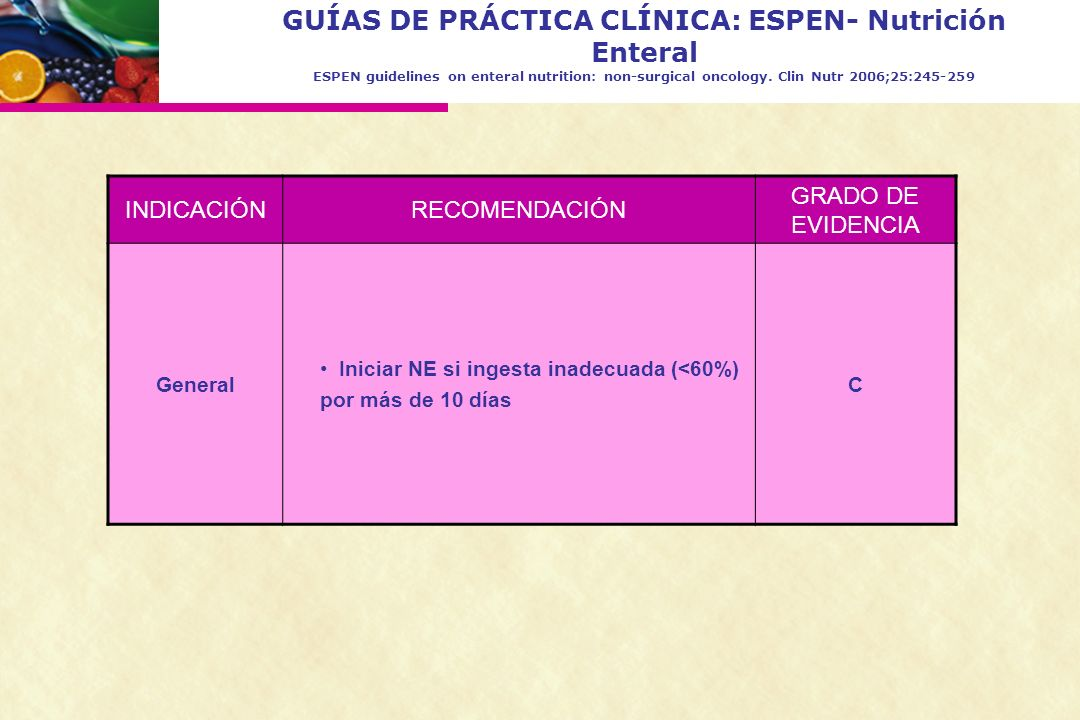 GUÍAS DE PRÁCTICA CLÍNICA: ESPEN- Nutrición Enteral ESPEN guidelines on enteral nutrition: non-surgical oncology. Clin Nutr 2006;25:245-259 INDICACIÓN