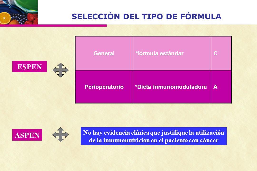 SELECCIÓN DEL TIPO DE FÓRMULA General*fórmula estándarC Perioperatorio*Dieta inmunomoduladoraA ESPEN ASPEN No hay evidencia clínica que justifique la