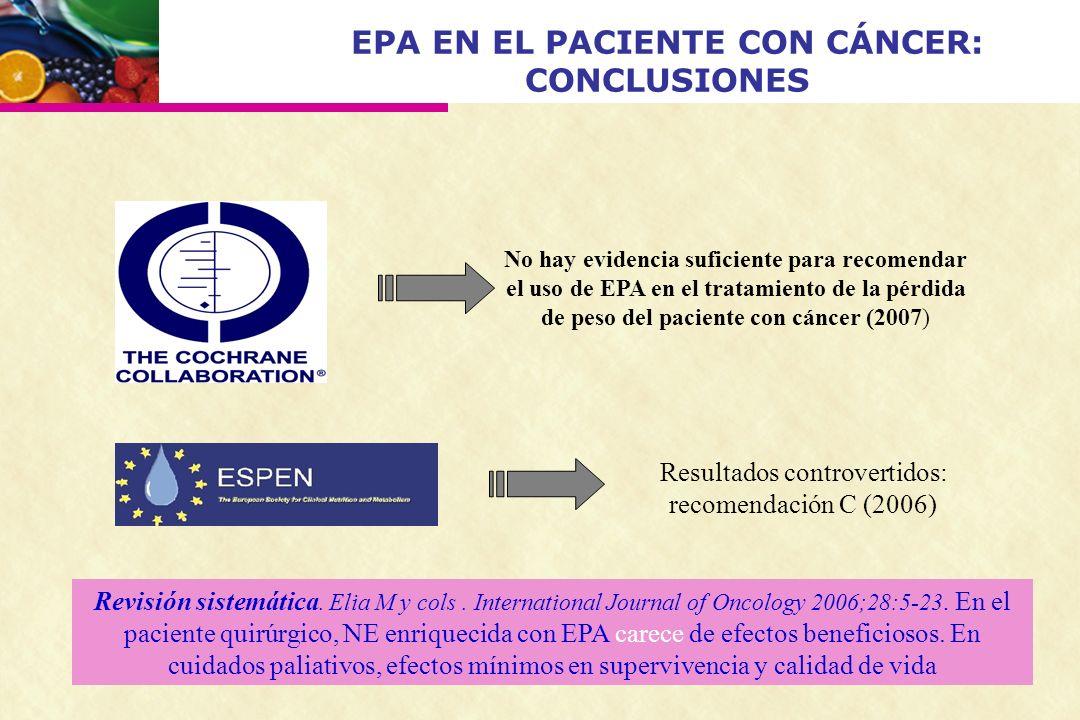 EPA EN EL PACIENTE CON CÁNCER: CONCLUSIONES No hay evidencia suficiente para recomendar el uso de EPA en el tratamiento de la pérdida de peso del paci
