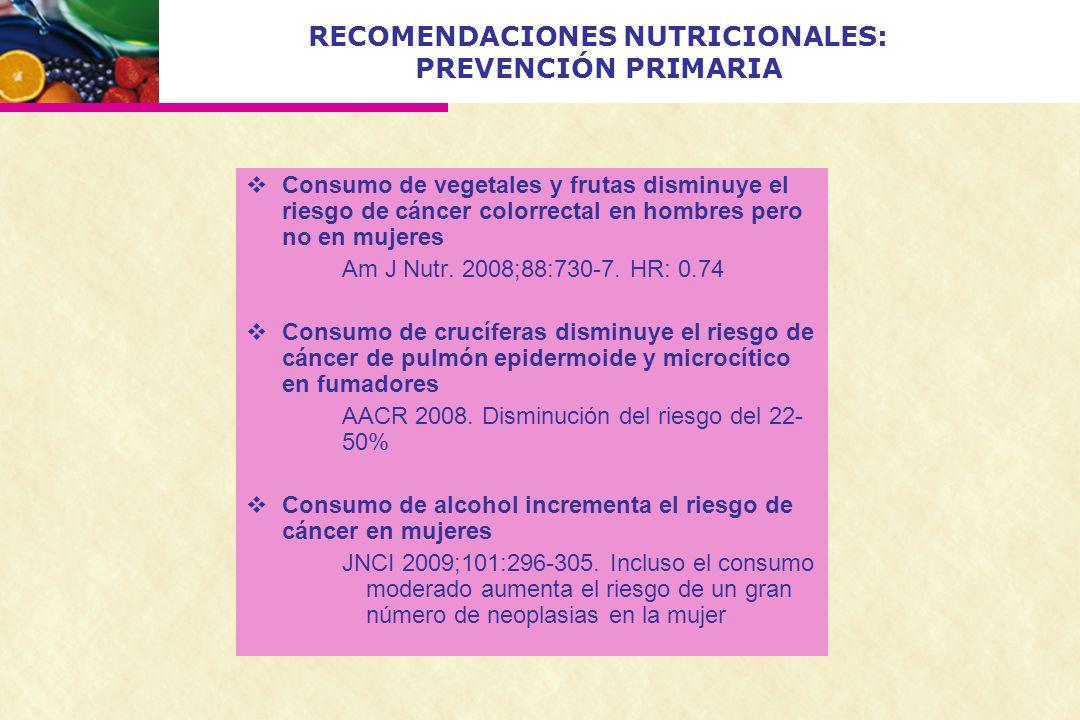 RECOMENDACIONES NUTRICIONALES: PREVENCIÓN PRIMARIA Consumo de vegetales y frutas disminuye el riesgo de cáncer colorrectal en hombres pero no en mujer