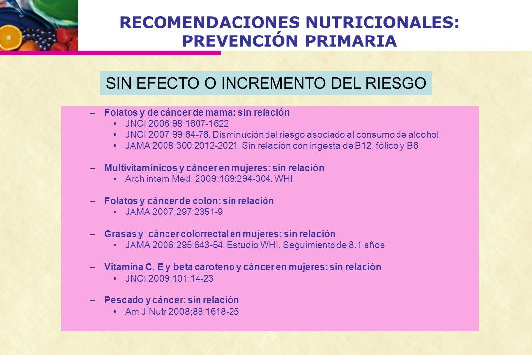 RECOMENDACIONES NUTRICIONALES: PREVENCIÓN PRIMARIA –Folatos y de cáncer de mama: sin relación JNCI 2006;98:1607-1622 JNCI 2007;99:64-76. Disminución d