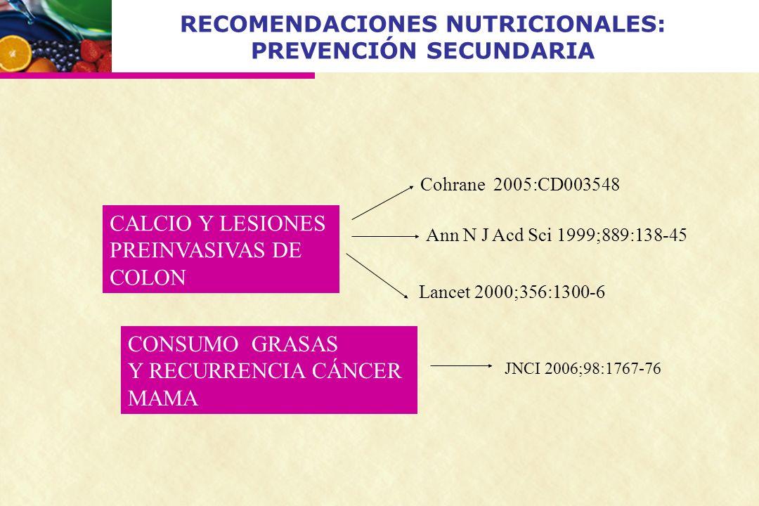 RECOMENDACIONES NUTRICIONALES: PREVENCIÓN SECUNDARIA CALCIO Y LESIONES PREINVASIVAS DE COLON Cohrane 2005:CD003548 Ann N J Acd Sci 1999;889:138-45 Lan