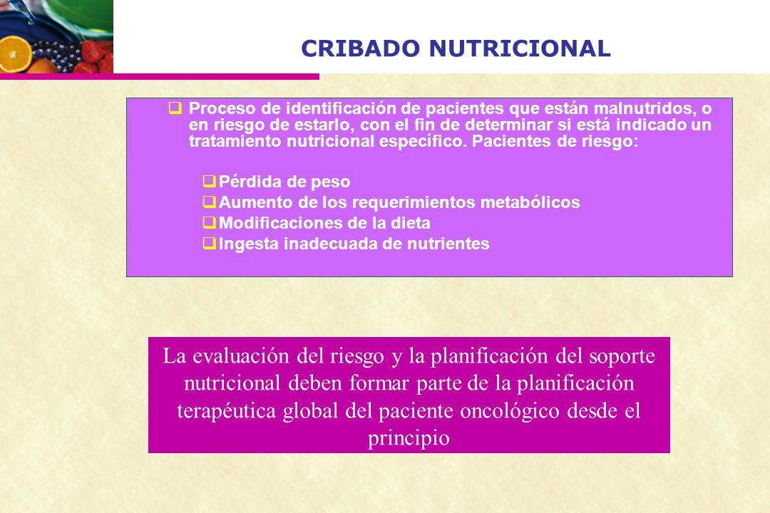 CRIBADO NUTRICIONAL Proceso de identificación de pacientes que están malnutridos, o en riesgo de estarlo, con el fin de determinar si está indicado un