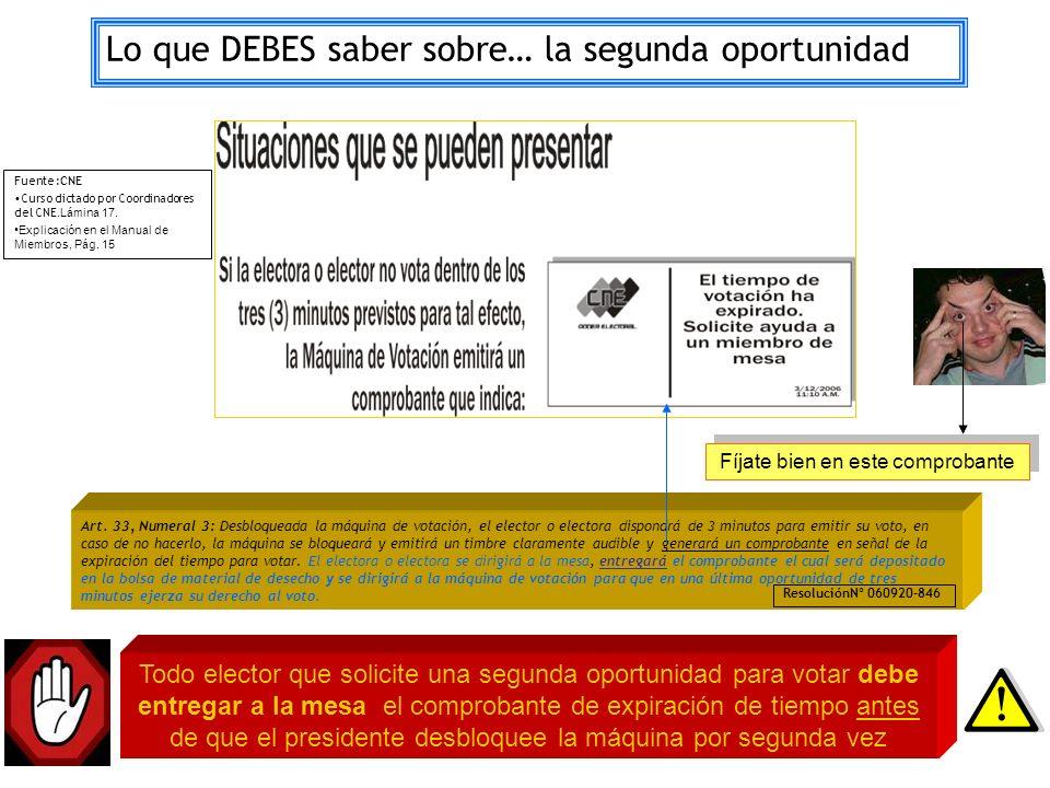 Art. 33, Numeral 3: Desbloqueada la máquina de votación, el elector o electora dispondrá de 3 minutos para emitir su voto, en caso de no hacerlo, la m