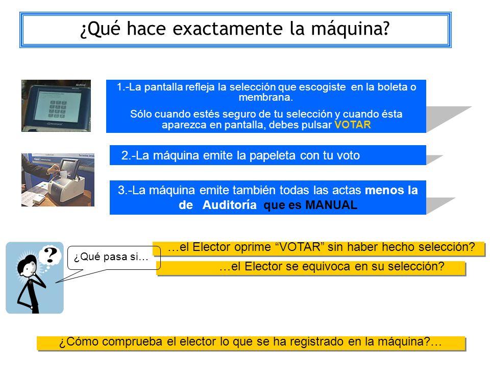 La pantalla 1.-La pantalla refleja la selección que escogiste en la boleta o membrana. Sólo cuando estés seguro de tu selección y cuando ésta aparezca
