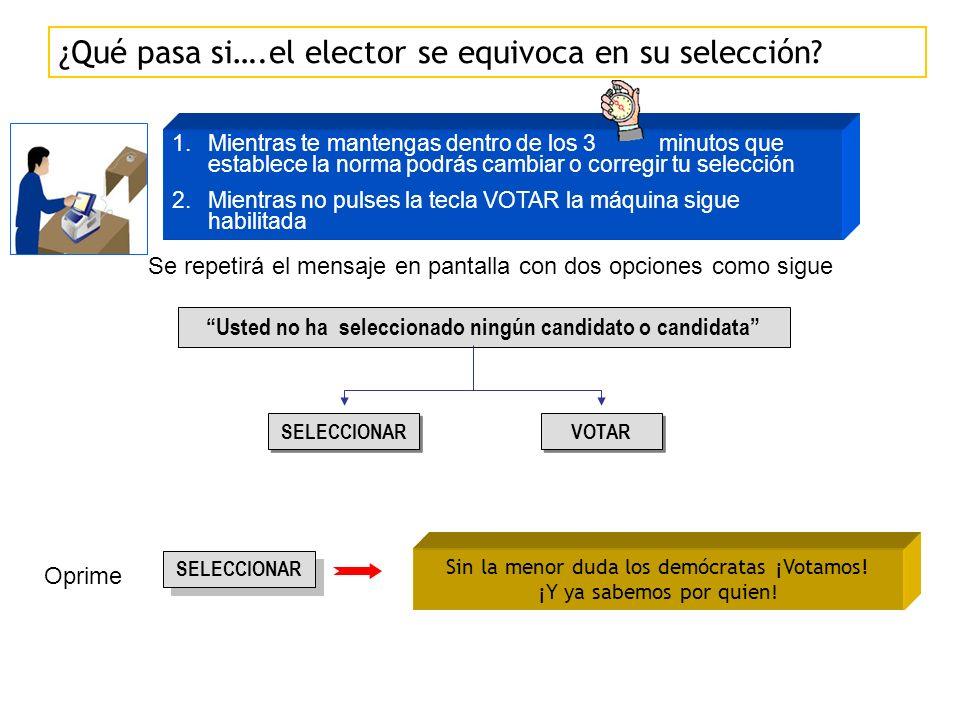 Usted no ha seleccionado ningún candidato o candidata SELECCIONAR VOTAR Oprime SELECCIONAR Sin la menor duda los demócratas ¡Votamos.