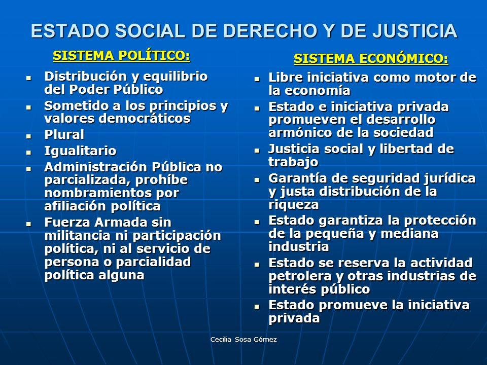 Cecilia Sosa Gómez ESTADO SOCIAL DE DERECHO Y DE JUSTICIA Distribución y equilibrio del Poder Público Distribución y equilibrio del Poder Público Some