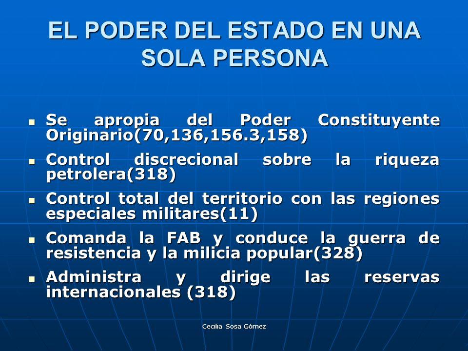 Cecilia Sosa Gómez EL PODER DEL ESTADO EN UNA SOLA PERSONA Se apropia del Poder Constituyente Originario(70,136,156.3,158) Se apropia del Poder Consti