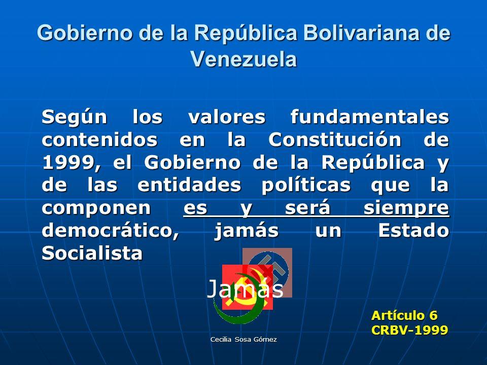 Cecilia Sosa Gómez Gobierno de la República Bolivariana de Venezuela Según los valores fundamentales contenidos en la Constitución de 1999, el Gobiern