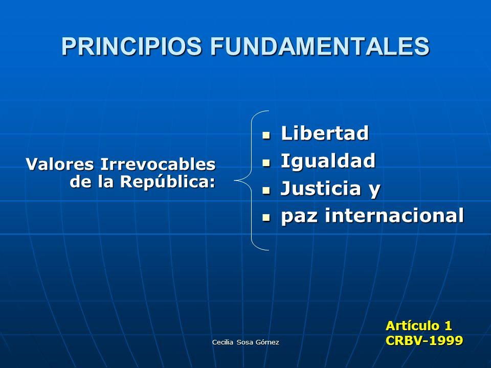 Cecilia Sosa Gómez PRINCIPIOS FUNDAMENTALES Valores Irrevocables de la República: Libertad Libertad Igualdad Igualdad Justicia y Justicia y paz intern