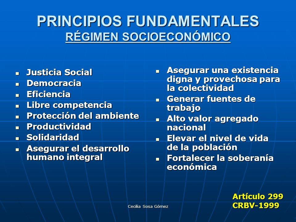 Cecilia Sosa Gómez PRINCIPIOS FUNDAMENTALES RÉGIMEN SOCIOECONÓMICO Justicia Social Justicia Social Democracia Democracia Eficiencia Eficiencia Libre c
