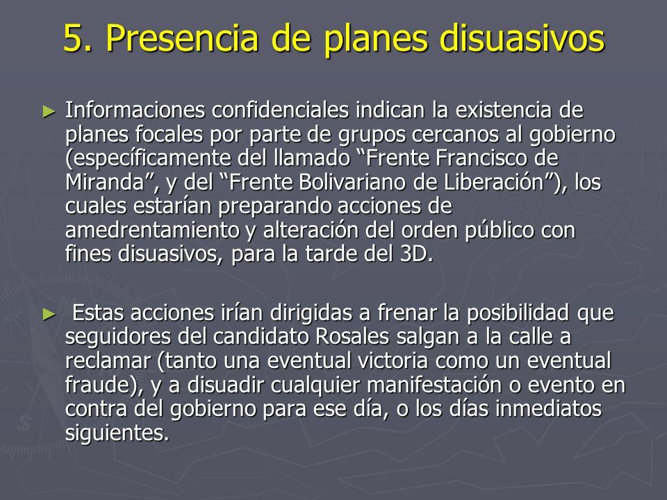5. Presencia de planes disuasivos Informaciones confidenciales indican la existencia de planes focales por parte de grupos cercanos al gobierno (espec
