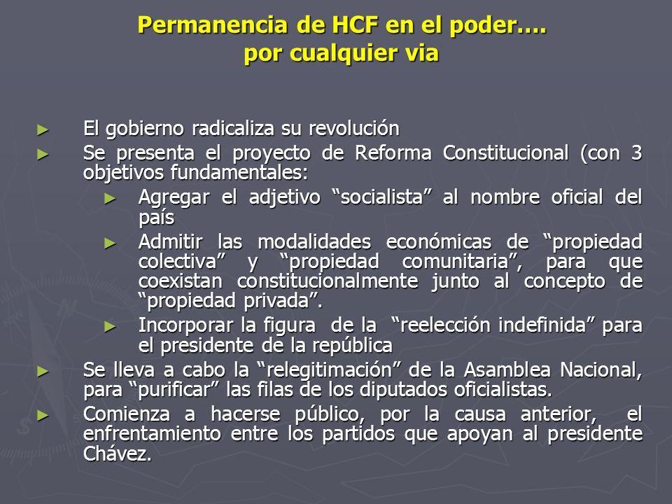 Permanencia de HCF en el poder…. por cualquier via El gobierno radicaliza su revolución El gobierno radicaliza su revolución Se presenta el proyecto d