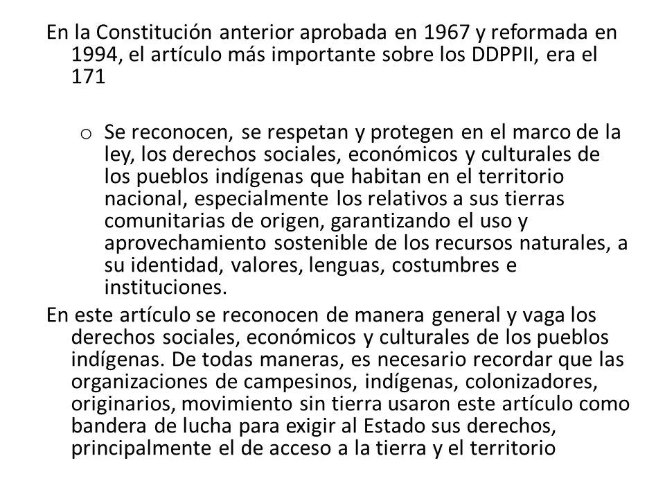 BASES PARA LA FORMULACION Y CONSTITUCIONALIZACIÓN DE LOS DERECHOS DE LOS PUEBLOS INDIGENAS