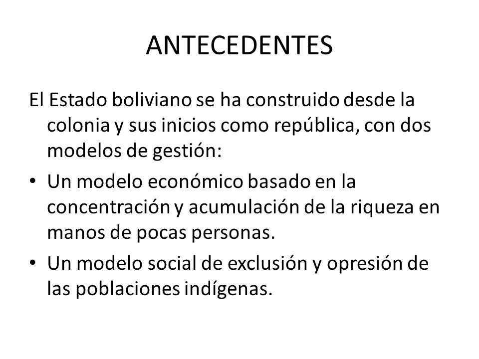 ANTECEDENTES El Estado boliviano se ha construido desde la colonia y sus inicios como república, con dos modelos de gestión: Un modelo económico basado en la concentración y acumulación de la riqueza en manos de pocas personas.