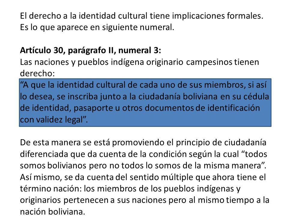 Artículo 30, parágrafo II, numeral 2: Las naciones y pueblos indígena originario campesinos tienen derecho: A su identidad cultural, creencia religios