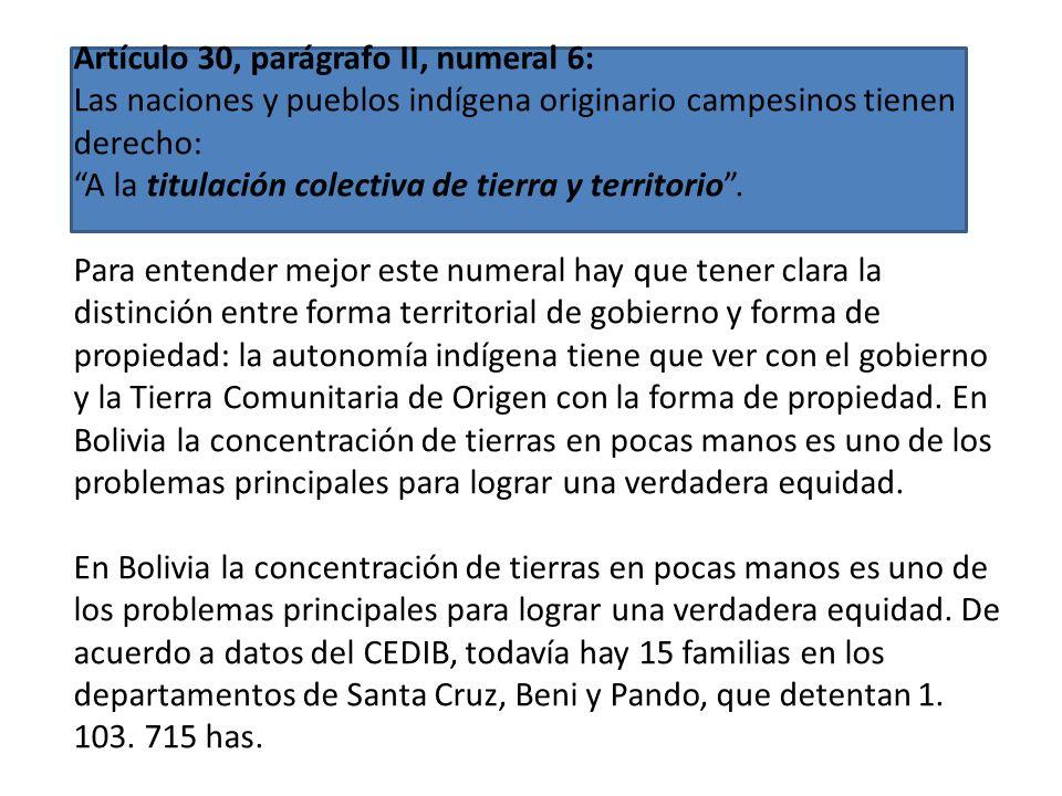Artículo 30, parágrafo II, numeral 17: Las naciones y pueblos indígena originario campesinos tienen derecho: A la gestión territorial indígena autónom