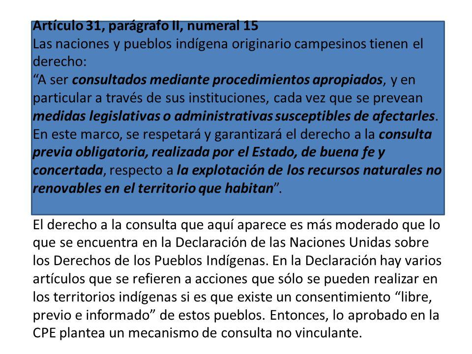 Artículo 30, parágrafo II, numeral 6: Las naciones y pueblos indígena originario campesinos tienen derecho: A la titulación colectiva de tierra y terr