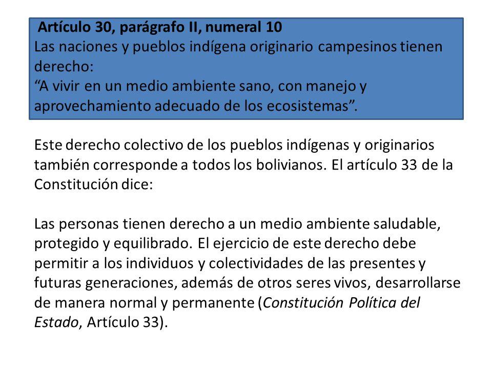 Artículo 30, parágrafo II, numeral 16 Las naciones y pueblos indígena originario campesinos tienen derecho: A la participación en los beneficios de la