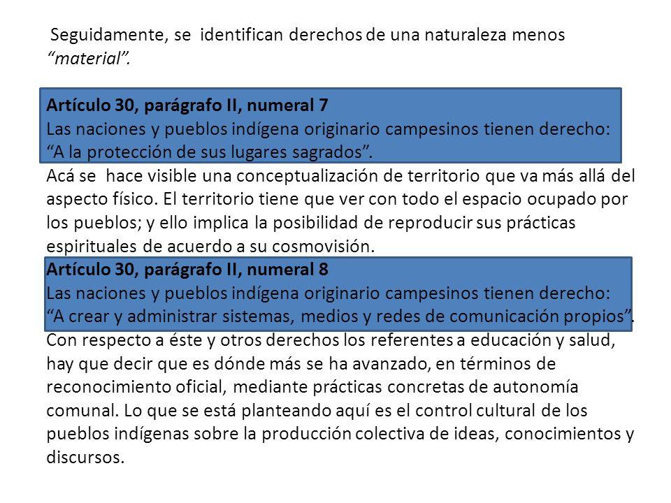 Artículo 30, parágrafo II, numeral 5 Las naciones y pueblos indígena originario campesinos tienen derecho: A que sus instituciones sean parte de la es