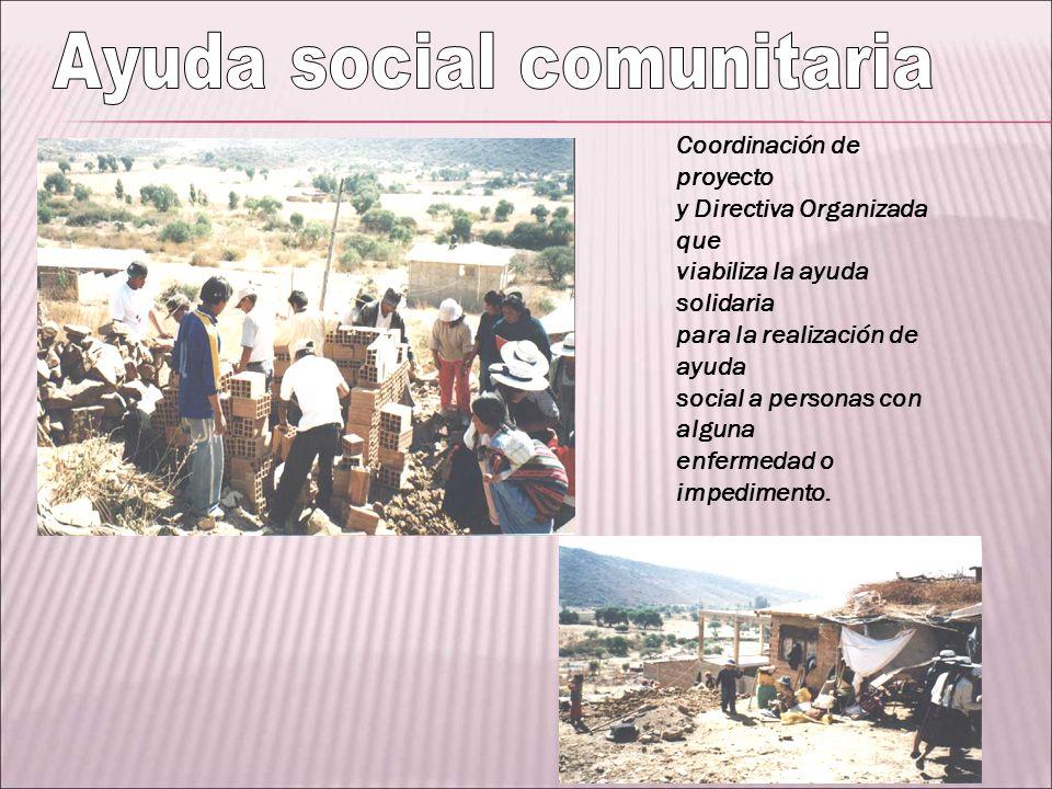 Coordinación de proyecto y Directiva Organizada que viabiliza la ayuda solidaria para la realización de ayuda social a personas con alguna enfermedad