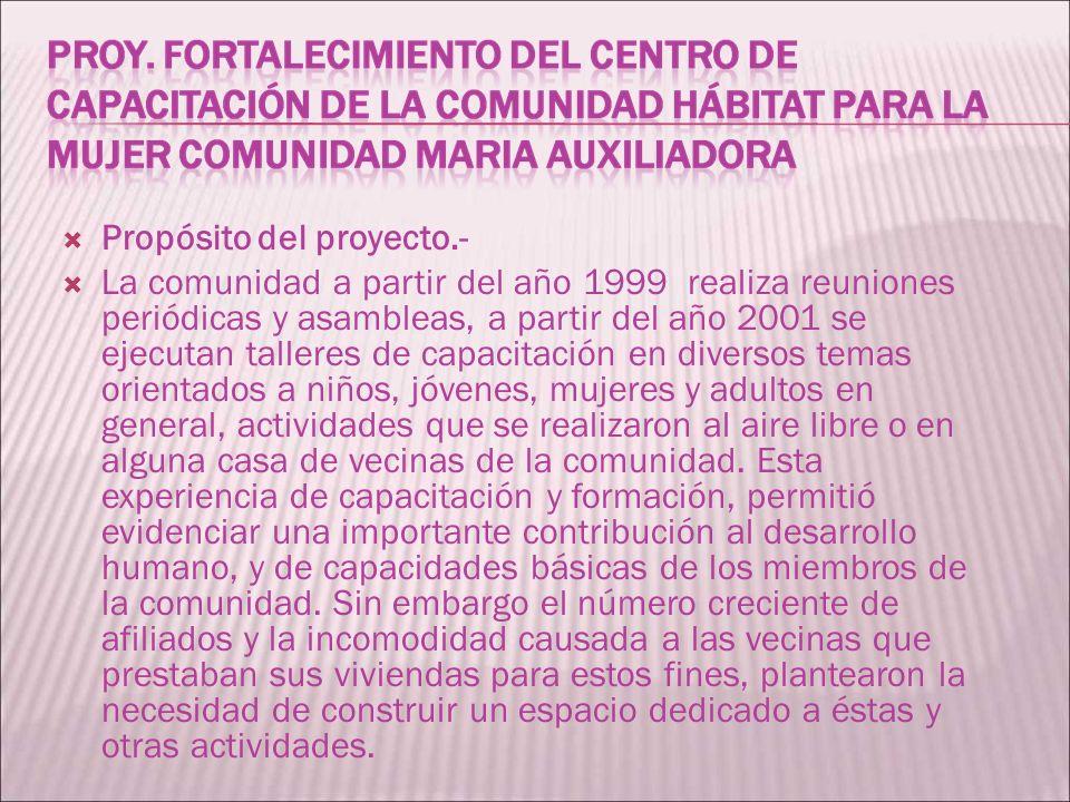 Propósito del proyecto.- La comunidad a partir del año 1999 realiza reuniones periódicas y asambleas, a partir del año 2001 se ejecutan talleres de ca
