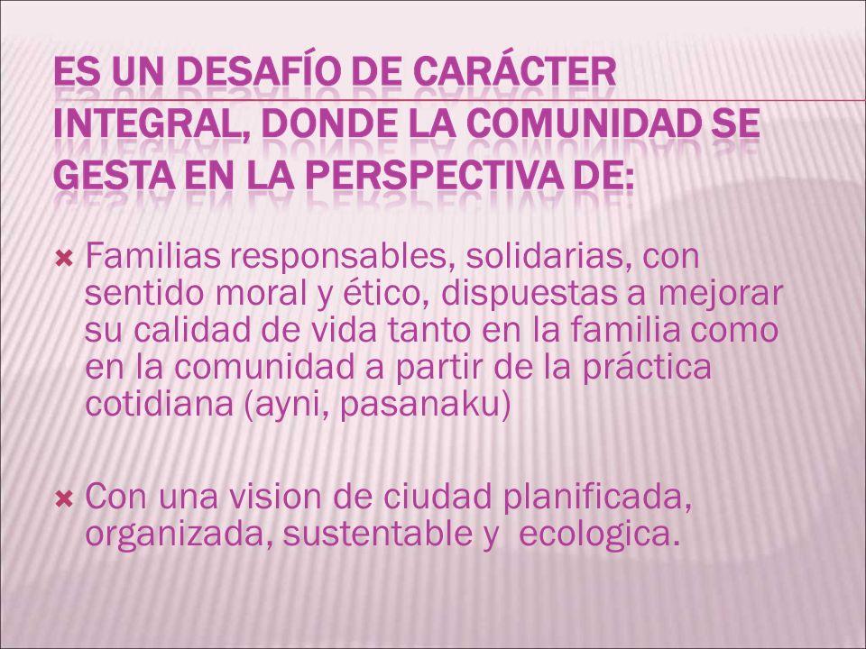 Familias responsables, solidarias, con sentido moral y ético, dispuestas a mejorar su calidad de vida tanto en la familia como en la comunidad a parti