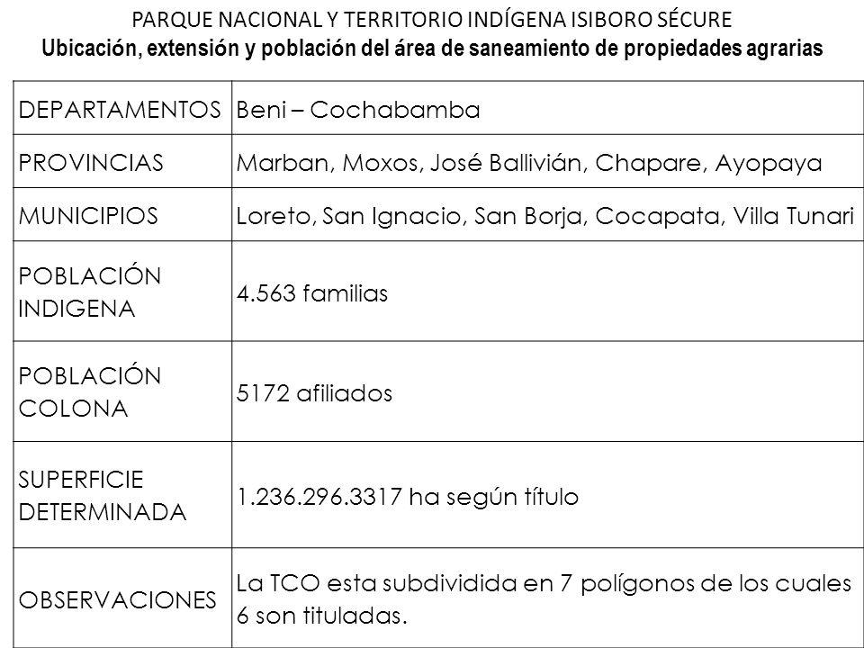 DEPARTAMENTOSBeni – Cochabamba PROVINCIASMarban, Moxos, José Ballivián, Chapare, Ayopaya MUNICIPIOSLoreto, San Ignacio, San Borja, Cocapata, Villa Tun