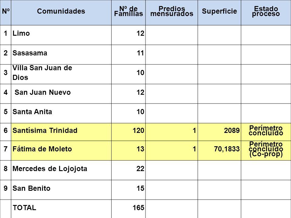 NºComunidades Nº de Familias Predios mensurados Superficie Estado proceso 1Limo12 2Sasasama11 3 Villa San Juan de Dios 10 4 San Juan Nuevo12 5Santa An
