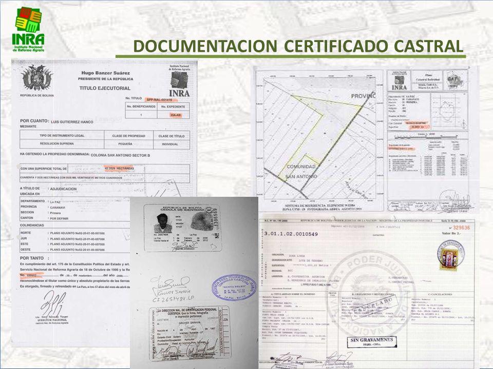 1.Solicitud de Certificado Catastral (Carta o Formulario INRA). 2. Titulo Ejecutorial o Certificado de Saneamiento (original y Fotocopia). 3. Plano Ca
