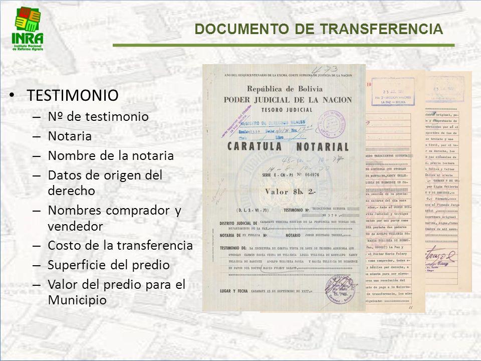 1.Solicitud de Certificado de transferencia de Cambio de Nombre. (formulario INRA). 2.Minuta de Transferencia Protocolizada (Testimonio de Transferenc